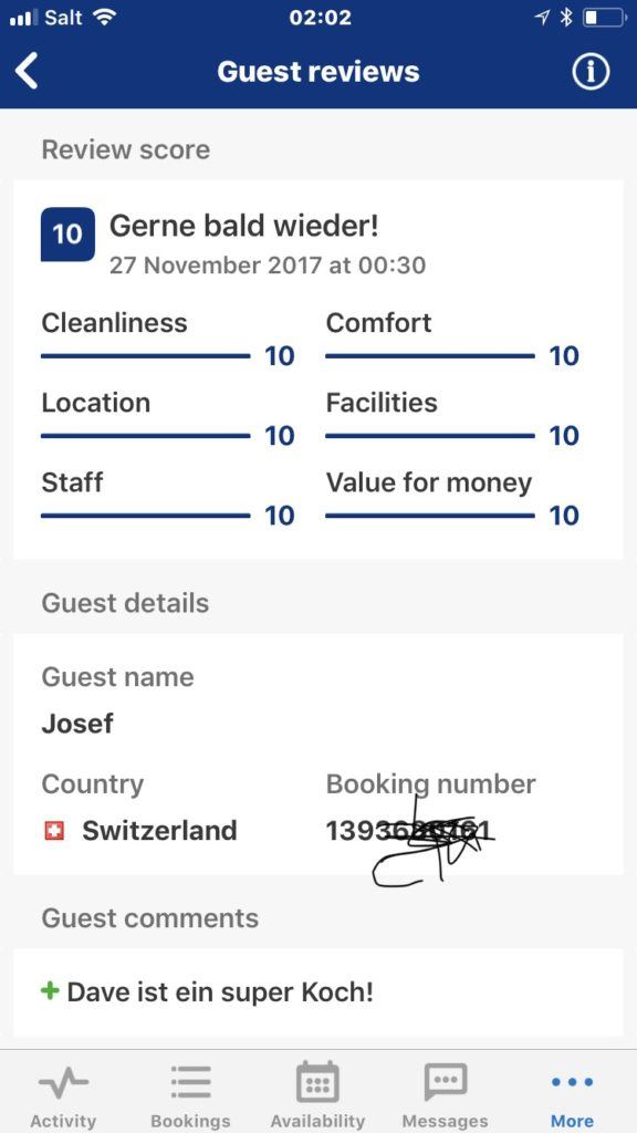 10 Star Review BnB Obermumpf